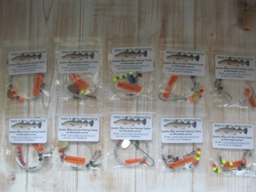 10 x Flatty Pulley Rigs Sea Fishing Tackle, Hand tied Quality Sea Fishing Rigs