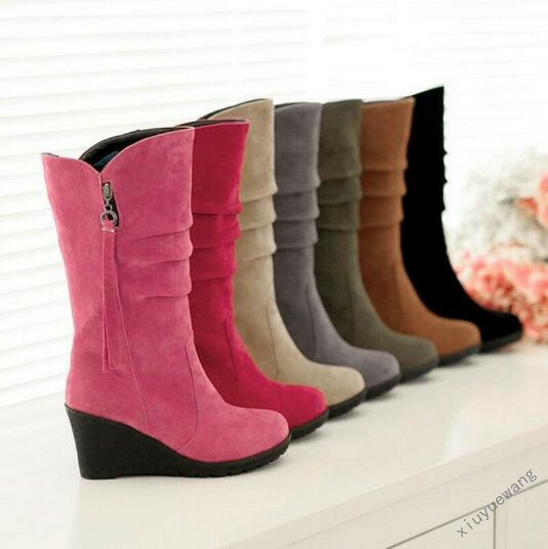 Fashion Womens Faux Suede Wedge Heels Side Zip Mid Calf Boots Winter Warm Shoes