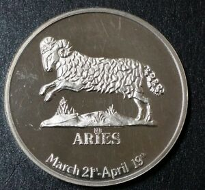 1970s-Vintage-Lunar-Mint-Aries-Zodiac-26-Gr-Sterling-Art-Medal-Round-Coin