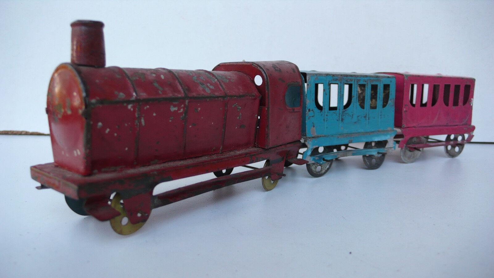 C R  TRAIN  DE    PLANCHER  1905/50  TÔLE PEINTE  Lg TOTALE 30 cm f3d1ce