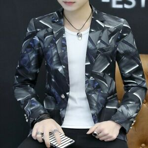 Chic-Mens-Korean-Coat-One-Button-Slim-Fit-Printing-Handsome-Youth-Blazer-Jackets