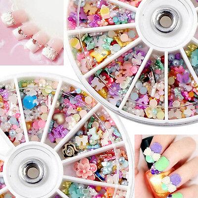 DIY 1200Pcs Mixed Color 3D Rhinestones Flower Nail Art Tips Deco Wheel Xmas Gift