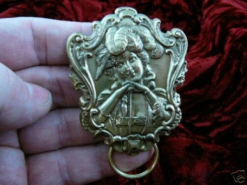 (#E-457) Coy Victorian lady brass Eyeglass pin pendant ID badge holder