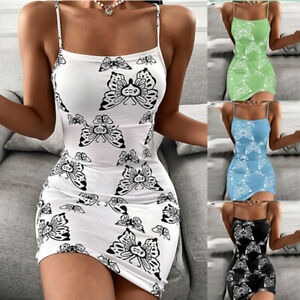 Women Sexy Sleeveless Evening Party Slim Floral Sling Mini Summer Slip Dress