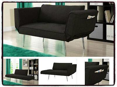 Futon Loveseat Bed Lounge Sleeper Sofa Convertible Chaise Furniture Black  Dorm 727371466234 | eBay
