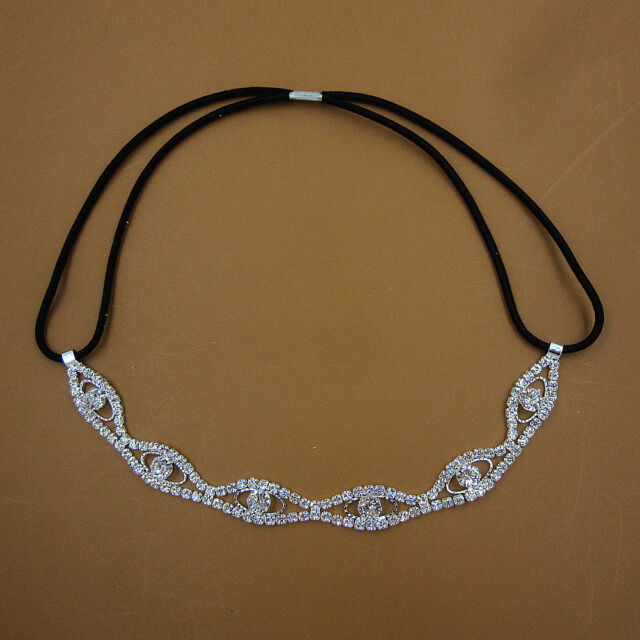 Eyes Crystal Rhinestone Chain Wedding Headband Elastic Stretch Hair Band FD-3