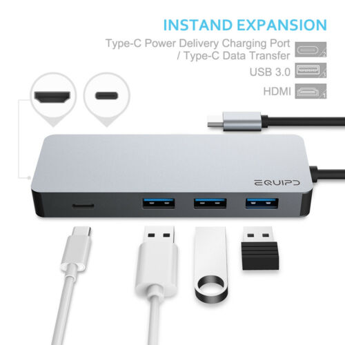 EQUIPD USB C HUB Type-C Adapter 4K HDMI USB 3.0 Charging for Macbook Pro /& More