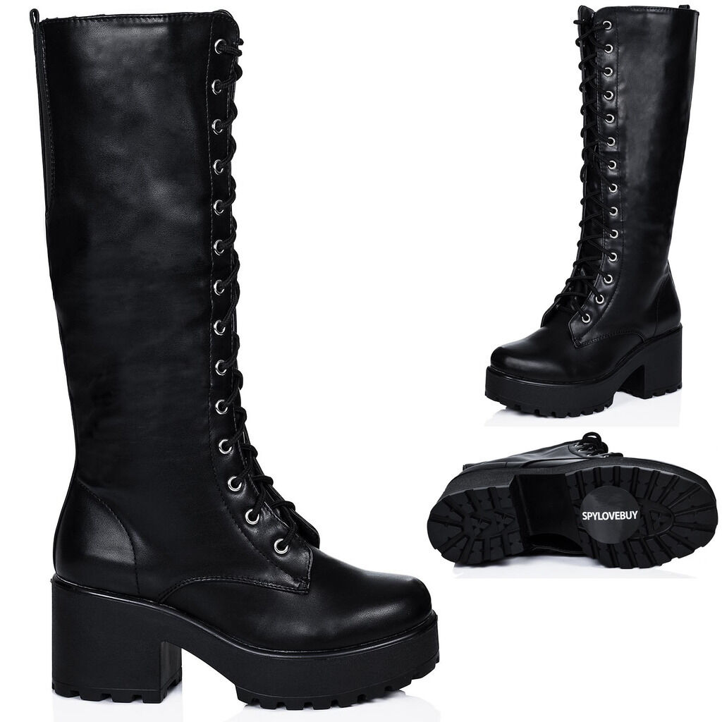 NEW WOMENS BLOCK HEEL CLEATED SOLE LACE UP PLATFORM KNEE HIGH BOOTS US 5 - 10