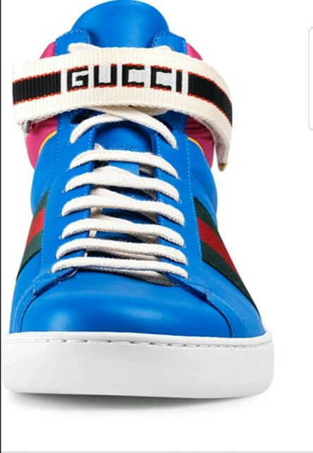 4a69495b NEW Gucci New Ace Men's Web Stripe Leather High-Top Sneakers Blue 10 G / US  11