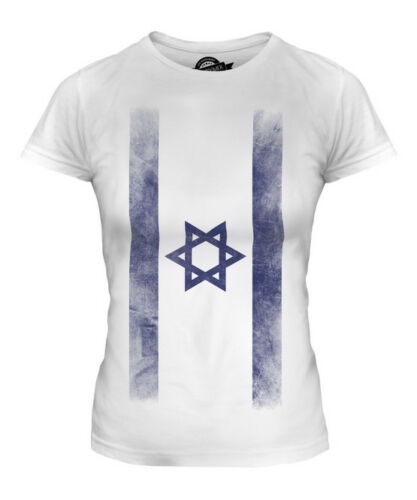 ISRAEL FADED FLAG LADIES T-SHIRT TEE TOP YISRAEL ISRAELI ISRA/'IL SHIRT FOOTBALL