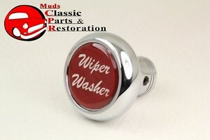 Deluxe-Wiper-Washer-Inside-Cab-Dash-Knob-Truck-Rat-Rod-Custom-Rig-Glossy-Red
