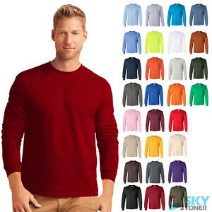 NEW Gildan Ultra Cotton Men's Crewneck Long Sleeve Plain Tee T-Shirt S-5XL 2400