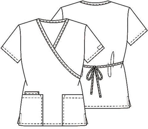 Caribbean Cherokee Workwear Mock Wrap Scrub Top 4801 CARW