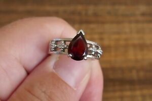 Red CZ Sterling Silver Ring Size 6