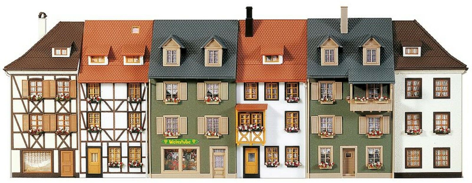 Faller 130430 h0, 6 casas de relieve, 406 mm lg, casas fila, Kit, nuevo