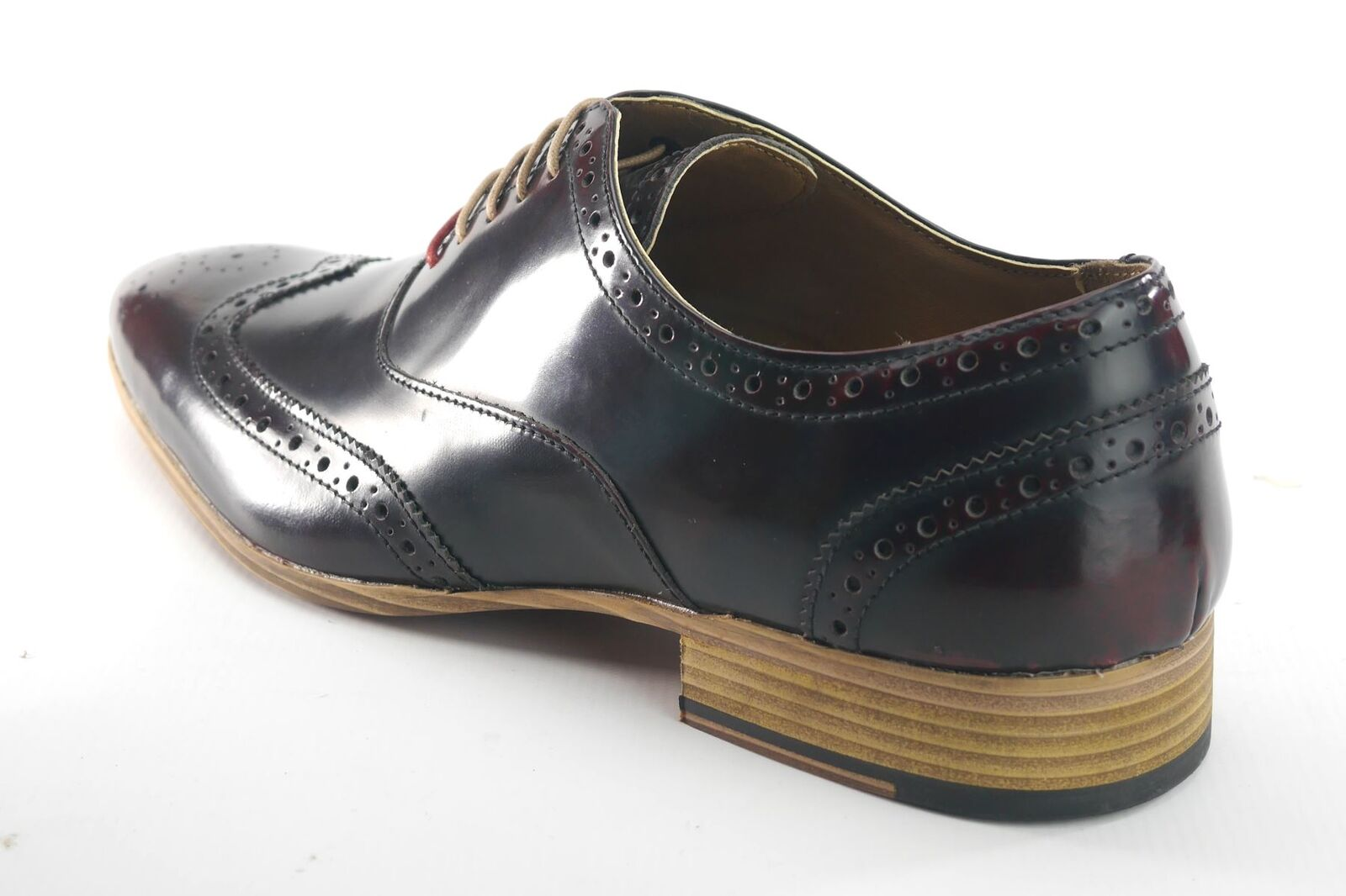 Frank James Norbury Hi Shine Mens Lace Up Brogue Lace Up Shoes Oxblood
