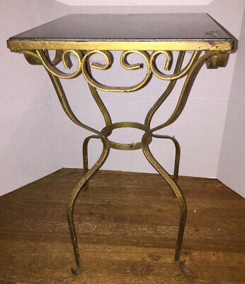 Gold Wrought Iron Scrolled Table With