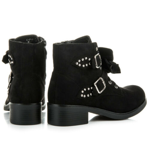 WOMENS-LADIES BLACK SUEDE LACE UP ZIP BOW CHUNKY BLOCK ANKLE BOOTS SHOES NEW