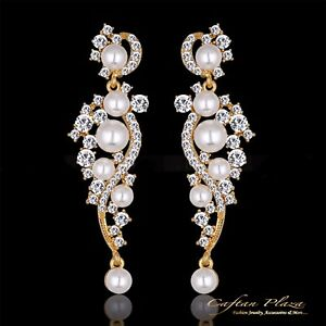 Bridal jewelry wedding earrings large earrings xxxl gold pearls image is loading bridal jewelry wedding earrings large earrings xxxl gold aloadofball Images
