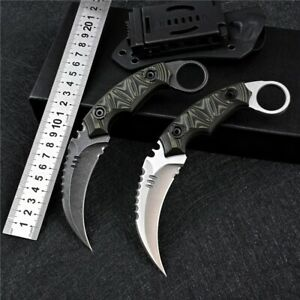 Karambit Tactical D2 Steel Fixed Blade Survival Hunting Camping Knife G10 Handle