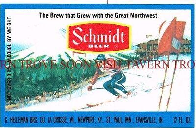 Scarce Original 1970s Schmidt Scenic Snow Slalom Skiing beer label Tavern Trove