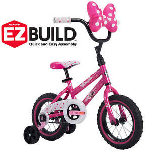 12-034-Bicycle-Minnie-Mouse-Huffy-Training-Wheels-Doll-Carrier-Pink-Bike-For-Girls