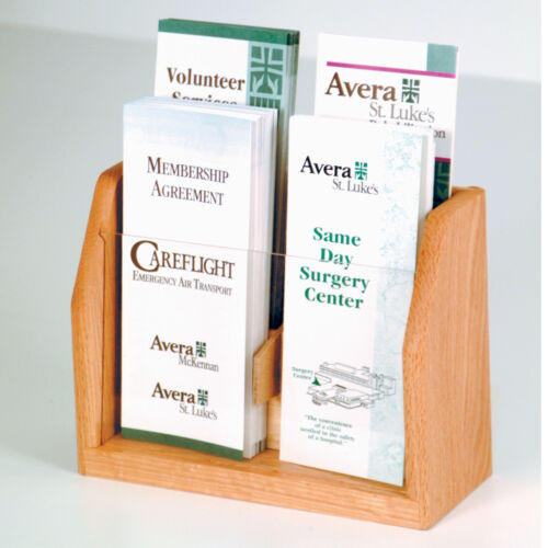 Wooden Mallet 4-Pocket Countertop Brochure Display Mahogany