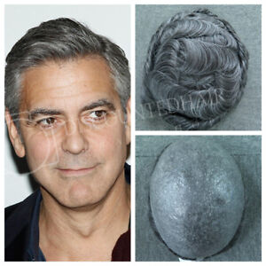 Natural Mens Thin Skin Toupee Real Hair Replacement System Hairpiece ... d3fecf390