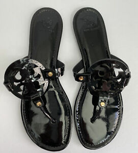 Tory-Burch-Miller-Black-Patent-Leather-Sandals-Flip-Flops-Women-s-Size-11