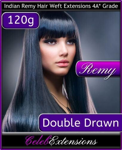 "DOUBLE DRAWN 120g Remy Indian Human Hair WEFT Extensions Remi 18"" 20"" 22"""
