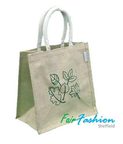 Jute Hessian Colourful Shopping Bag  with Pattern Medium 100/% Natural