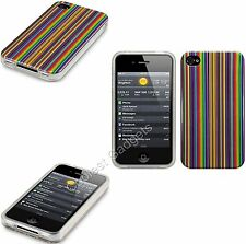 For Apple iPhone 4/4S 4G Multicoloured Stripes TPU Silicone Gel Skin Case Cover