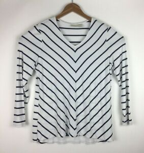Chicos-Women-s-Size-2-Blouse-Top-Pull-Over-Long-Sleeve-White-Black-Striped