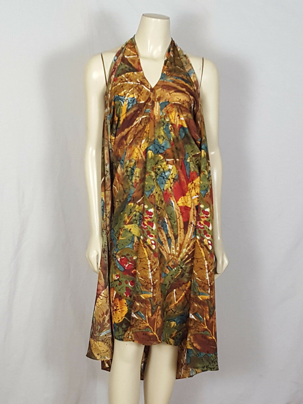 SOFT SURROUNDINGS hippie pull over dress multi-colord halter dress size Small
