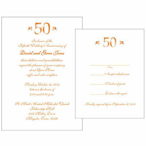 Image Is Loading 25 Personalized 50th Golden Anniversary Invitations  W Response