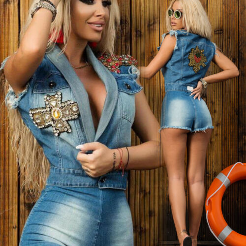 Ocassion Jeanshose Jeans Hotpants High waist Shorts Kurze Hose Taillenhose XS-L