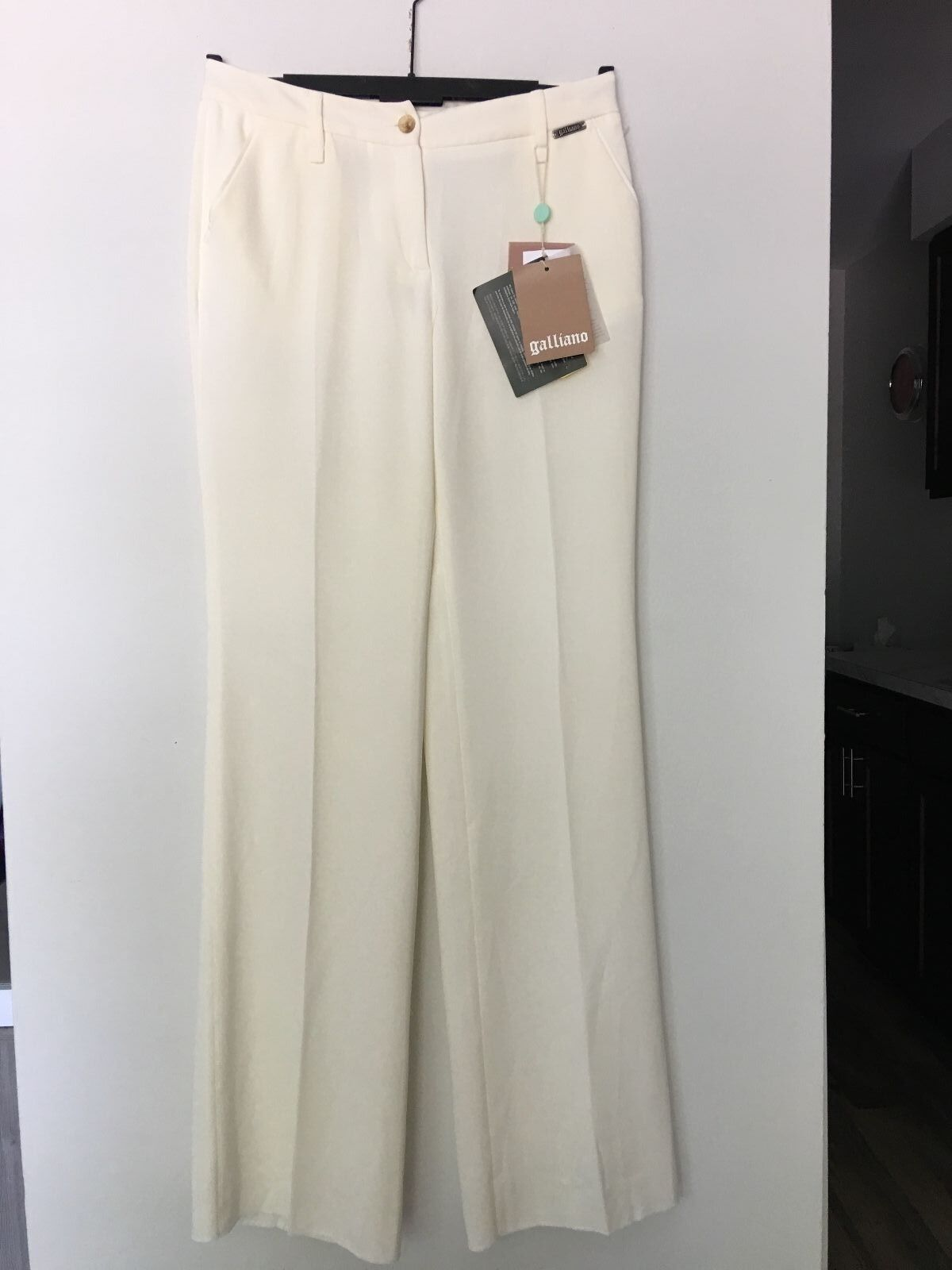 NWT GALLIANO OFF WHITE IVORY DRESS PANTS SIZE 30 44 US 8 MADE IN ITALY