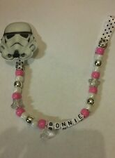 Personalised Dummy Clips - Star Wars - Handmade - Storm Trooper pink