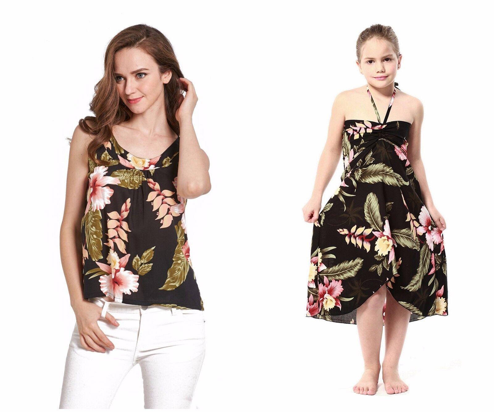 Mother Daughter Matching Luau Cruise Dress Hawaiian Tank Top Black Rafelsia