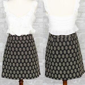 Ann-Taylor-LOFT-Women-039-s-Embroidered-Dot-Skirt-Size-4-Career-Black-Office-Pencil