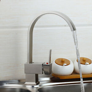 Astonishing Details About Uk Swivel Brushed Nickel Kitchen Vessel Sink Single Lever Mixer Faucet Brass Tap Home Remodeling Inspirations Genioncuboardxyz