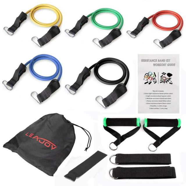 11 PCS Resistance Bands Yoga Pilates Abs Fitness Tube Workout Bands