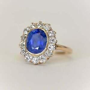 Art-Deco-4Ct-Oval-Cut-Blue-Sapphire-Diamond-Halo-Wedding-Ring-14K-Yellow-Gold-Fn