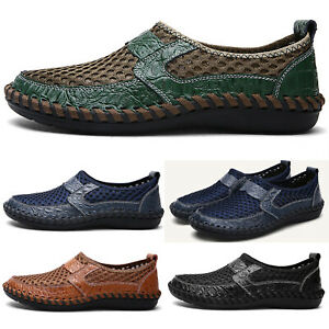 Men-Leather-Loafers-Casual-Shoes-Breathable-Driving-Slip-on-Moccasins-Mesh-Shoes