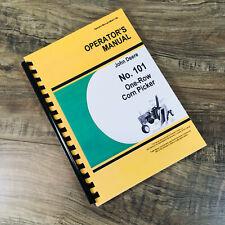 Operators Parts Manual For John Deere No 101 One Row Corn Picker Owners Book