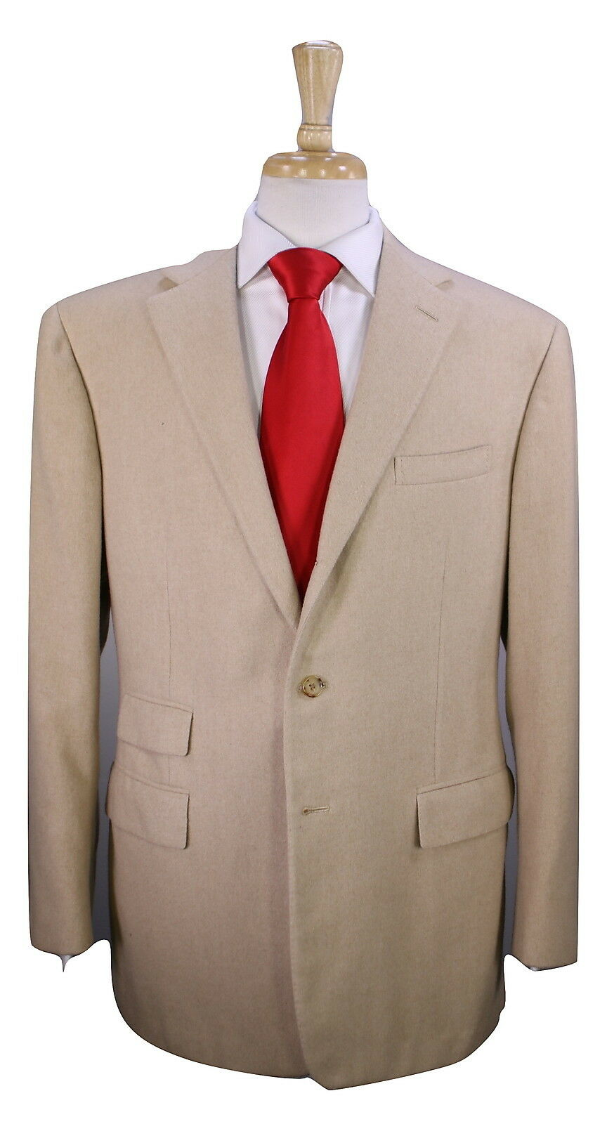 RALPH LAUREN  lila Label ITALY Solid Camel 100% Cashmere 2-Btn Suit 42R