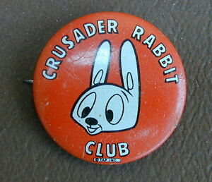 Very Rare Crusader Rabbit Club Pin Old & Original 1950's Hollywood California
