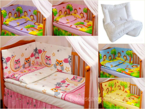 5pcs BABY BEDDING SET//BUMPER//PILLOW// DUVETCASE//QUILT  to fit COT 120 x 60cm