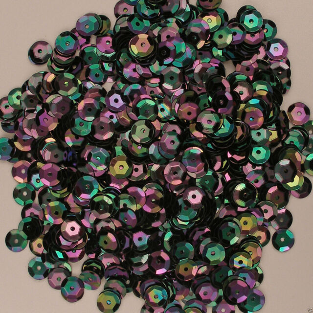 Sequins Black with Violet & Green Iris 8mm Round Cup Loose 400 pieces