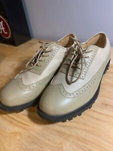 Women-s-Golfstream-Lace-Up-Golf-Shoes-6-5-M-Tan-Beige